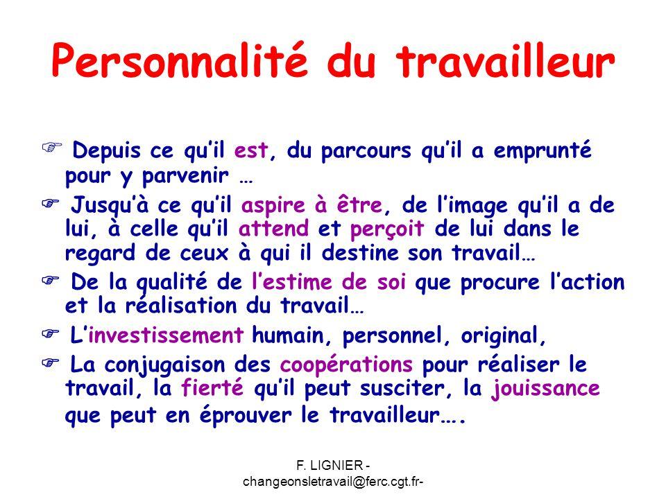 F. LIGNIER - changeonsletravail@ferc.cgt.fr- Personnalité du travailleur  Depuis ce qu'il est, du parcours qu'il a emprunté pour y parvenir …  Jusqu