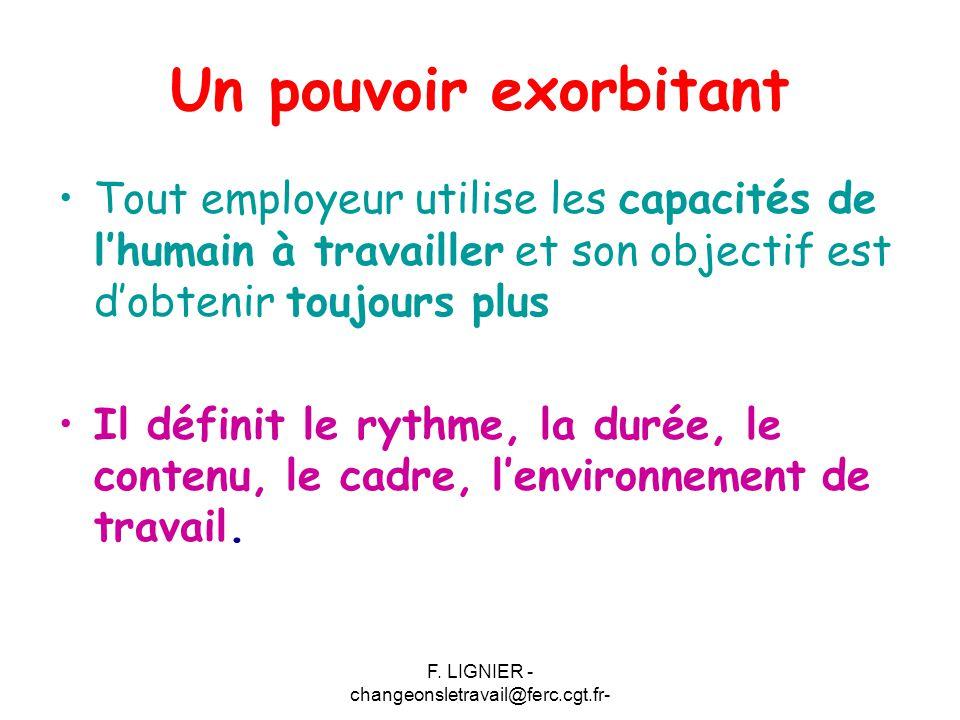 F. LIGNIER - changeonsletravail@ferc.cgt.fr- Un pouvoir exorbitant Tout employeur utilise les capacités de l'humain à travailler et son objectif est d