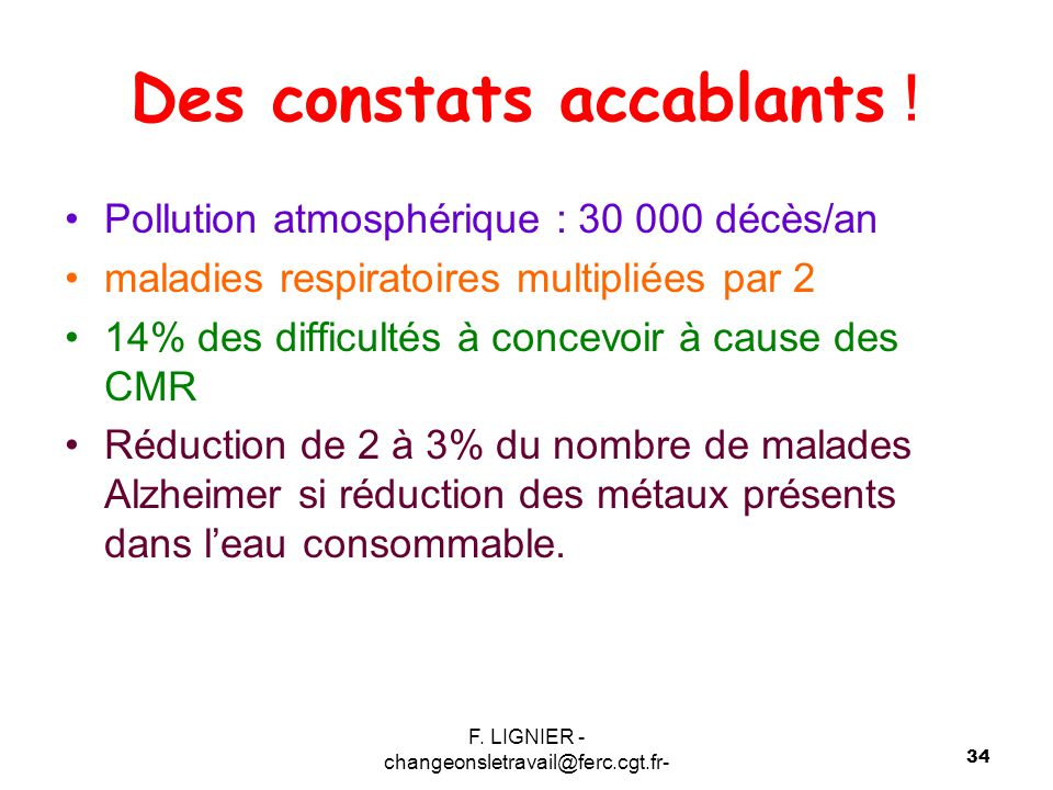 F. LIGNIER - changeonsletravail@ferc.cgt.fr- 34 Des constats accablants ! Pollution atmosphérique : 30 000 décès/an maladies respiratoires multipliées