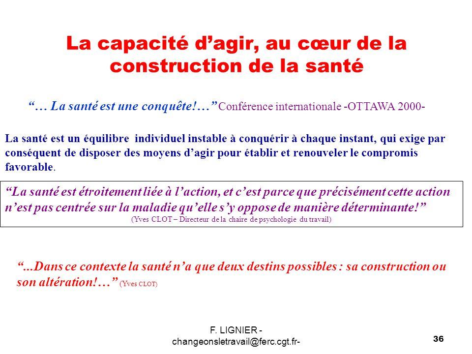 """F. LIGNIER - changeonsletravail@ferc.cgt.fr- 36 La capacité d'agir, au cœur de la construction de la santé """"… La santé est une conquête!…"""" Conférence"""