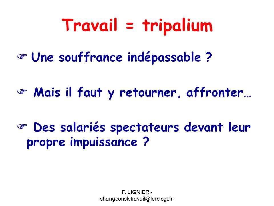 F. LIGNIER - changeonsletravail@ferc.cgt.fr- Travail = tripalium  Une souffrance indépassable ?  Mais il faut y retourner, affronter…  Des salariés