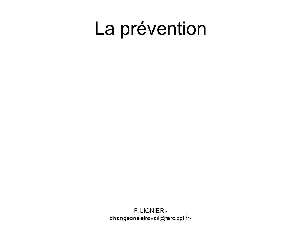 F. LIGNIER - changeonsletravail@ferc.cgt.fr- La prévention
