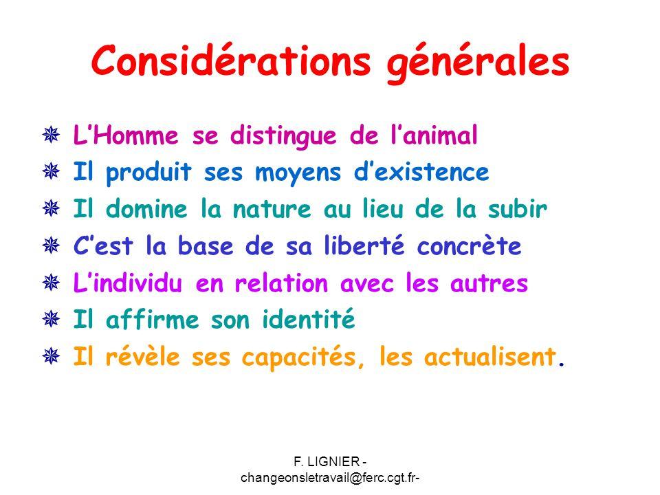 F. LIGNIER - changeonsletravail@ferc.cgt.fr- Considérations générales  L'Homme se distingue de l'animal  Il produit ses moyens d'existence  Il domi