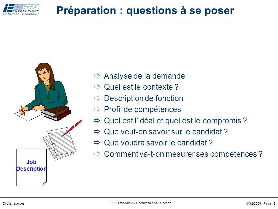 Droits réservés LSRH module 2 – Recrutement & Sélection 16/12/2006 - Page 14 Planification des RH Prévision en personnel Identification de la nature e