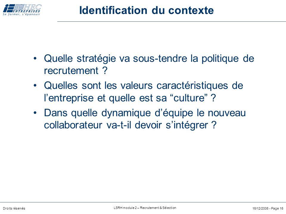 Droits réservés LSRH module 2 – Recrutement & Sélection 16/12/2006 - Page 15  Analyse de la demande  Quel est le contexte ?  Description de fonctio