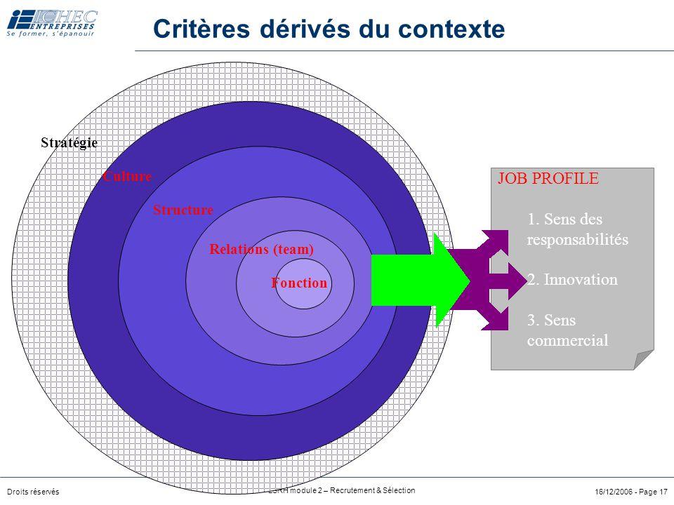 Droits réservés LSRH module 2 – Recrutement & Sélection 16/12/2006 - Page 17 Critères dérivés du contexte Culture Structure Stratégie Fonction Relations (team) JOB PROFILE 1.
