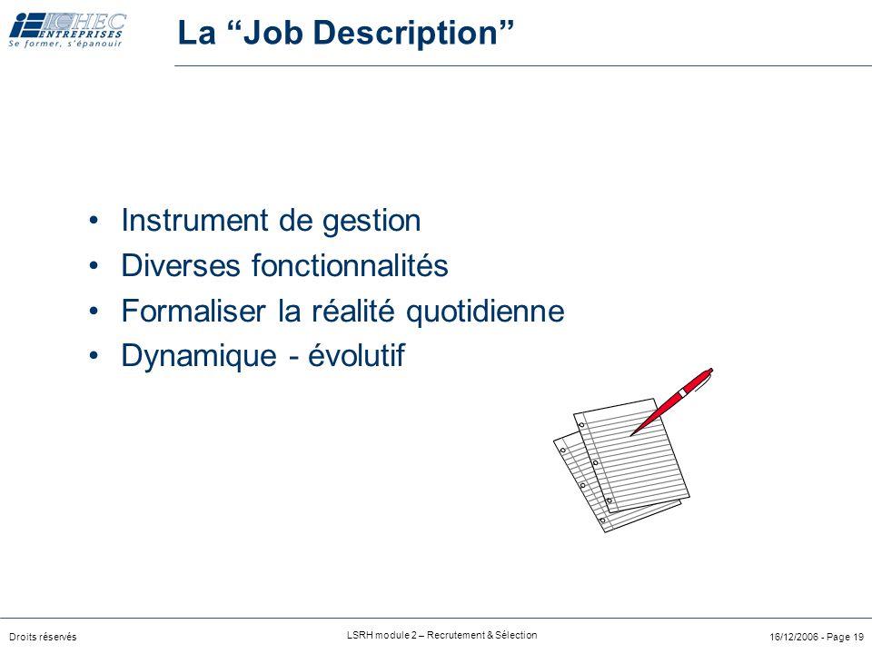 Droits réservés LSRH module 2 – Recrutement & Sélection 16/12/2006 - Page 19 Instrument de gestion Diverses fonctionnalités Formaliser la réalité quotidienne Dynamique - évolutif La Job Description