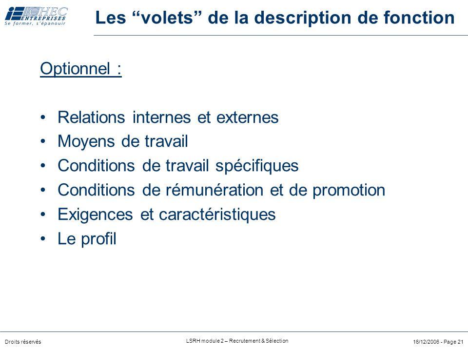 """Droits réservés LSRH module 2 – Recrutement & Sélection 16/12/2006 - Page 20 Les """"volets"""" de la description de fonction L'essentiel : But de la foncti"""
