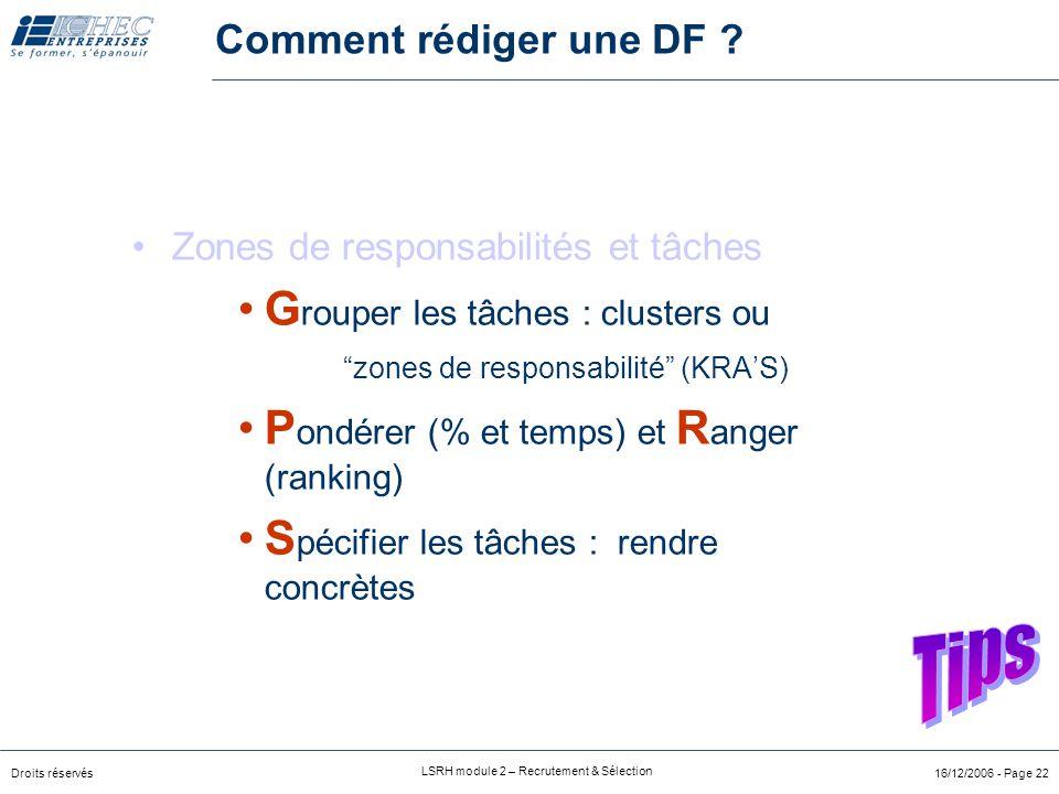 """Droits réservés LSRH module 2 – Recrutement & Sélection 16/12/2006 - Page 21 Les """"volets"""" de la description de fonction Optionnel : Relations internes"""