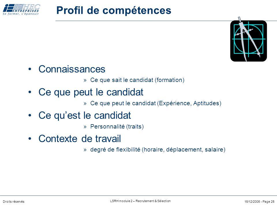 Droits réservés LSRH module 2 – Recrutement & Sélection 16/12/2006 - Page 25 Connaissances »Ce que sait le candidat (formation) Ce que peut le candidat »Ce que peut le candidat (Expérience, Aptitudes) Ce qu'est le candidat »Personnalité (traits) Contexte de travail »degré de flexibilité (horaire, déplacement, salaire) Profil de compétences