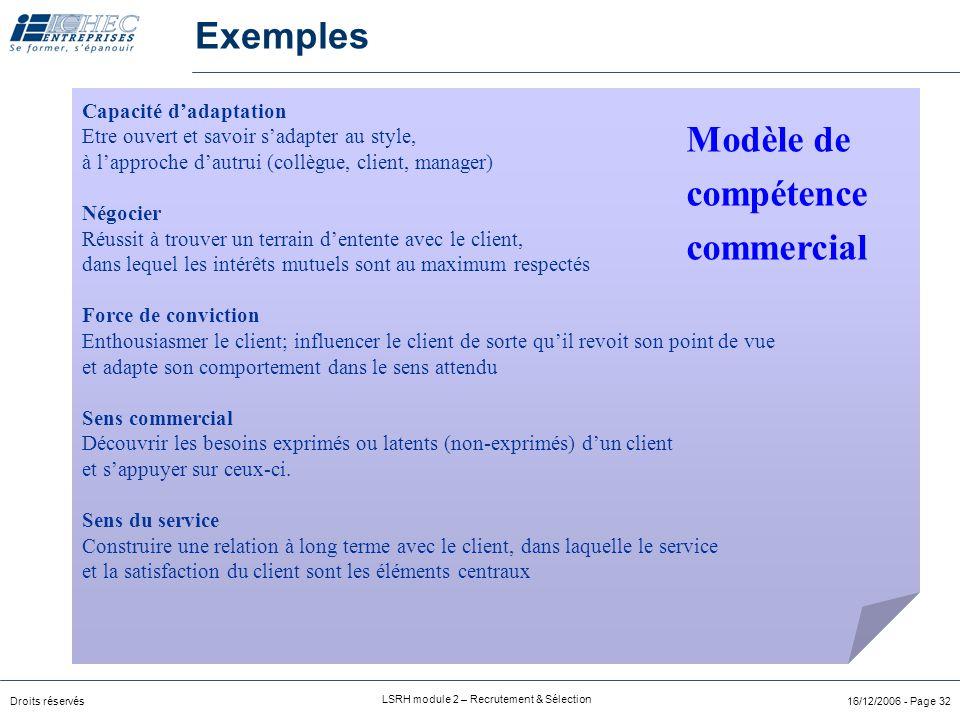 Droits réservés LSRH module 2 – Recrutement & Sélection 16/12/2006 - Page 32 Capacité d'adaptation Etre ouvert et savoir s'adapter au style, à l'approche d'autrui (collègue, client, manager) Négocier Réussit à trouver un terrain d'entente avec le client, dans lequel les intérêts mutuels sont au maximum respectés Force de conviction Enthousiasmer le client; influencer le client de sorte qu'il revoit son point de vue et adapte son comportement dans le sens attendu Sens commercial Découvrir les besoins exprimés ou latents (non-exprimés) d'un client et s'appuyer sur ceux-ci.