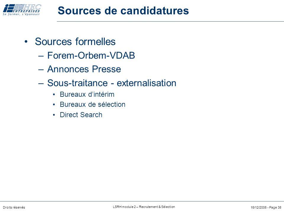 Droits réservés LSRH module 2 – Recrutement & Sélection 16/12/2006 - Page 37 Sources de candidatures Sources internes –recrutement interne Via annonce