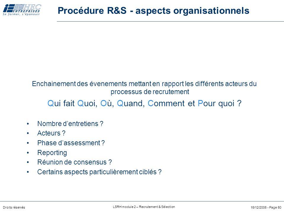 Droits réservés LSRH module 2 – Recrutement & Sélection 16/12/2006 - Page 49 Process R&S 2ChoixCanalCommuni-cation3Organisation4PréselectionEntretien7