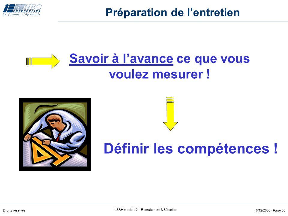 Droits réservés LSRH module 2 – Recrutement & Sélection 16/12/2006 - Page 56 Savoir à l'avance ce que vous voulez mesurer .