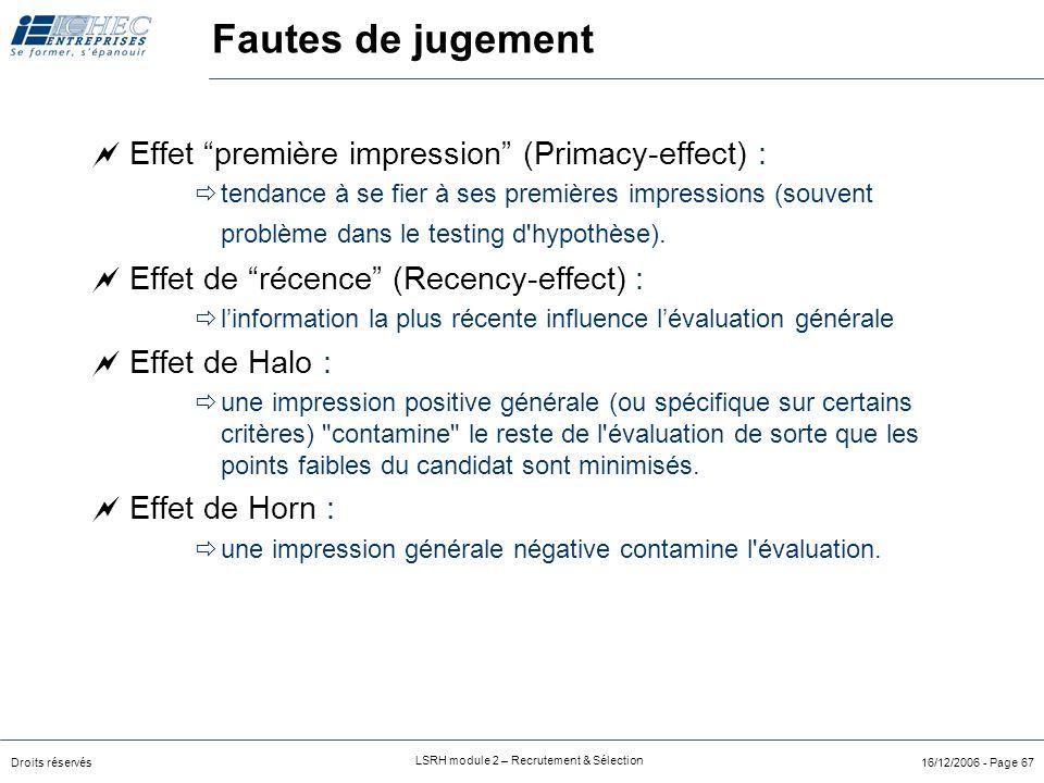 Droits réservés LSRH module 2 – Recrutement & Sélection 16/12/2006 - Page 67 Fautes de jugement  Effet première impression (Primacy-effect) :  tendance à se fier à ses premières impressions (souvent problème dans le testing d hypothèse).