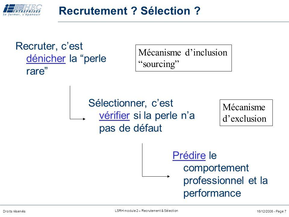 Droits réservés LSRH module 2 – Recrutement & Sélection 16/12/2006 - Page 7 Recruter, c'est dénicher la perle rare Prédire le comportement professionnel et la performance Sélectionner, c'est vérifier si la perle n'a pas de défaut Recrutement .