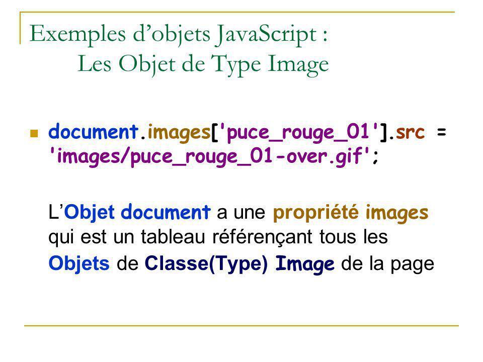 Exemples d'objets JavaScript : Les Objet de Type Image document.images['puce_rouge_01'].src = 'images/puce_rouge_01-over.gif'; L'Objet document a une