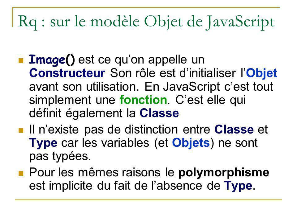 Rq : sur le modèle Objet de JavaScript Image() est ce qu'on appelle un Constructeur Son rôle est d'initialiser l'Objet avant son utilisation. En JavaS