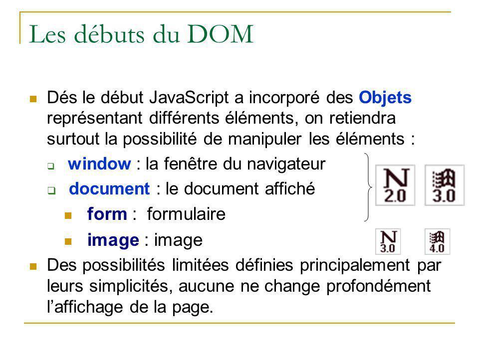 Les débuts du DOM Dés le début JavaScript a incorporé des Objets représentant différents éléments, on retiendra surtout la possibilité de manipuler le