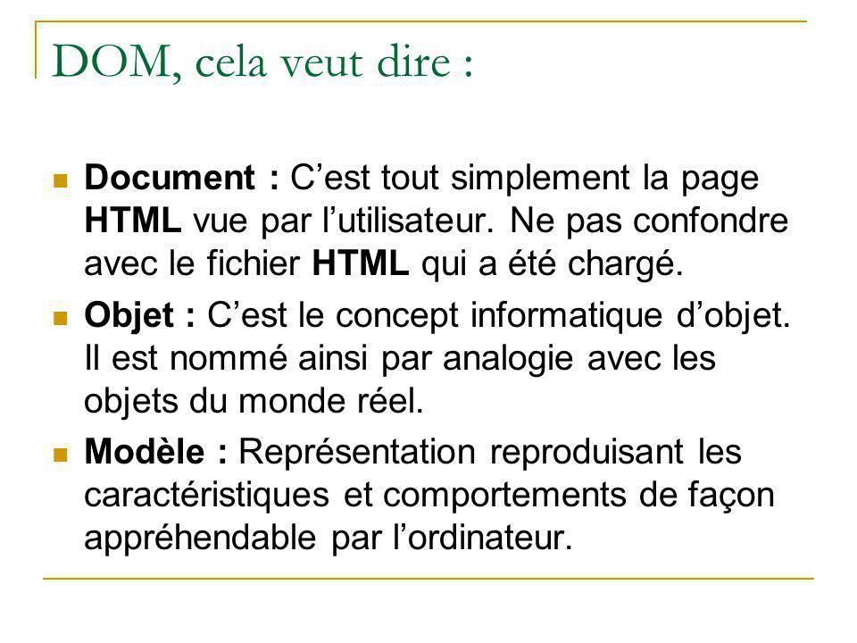 DOM, cela veut dire : Document : C'est tout simplement la page HTML vue par l'utilisateur. Ne pas confondre avec le fichier HTML qui a été chargé. Obj