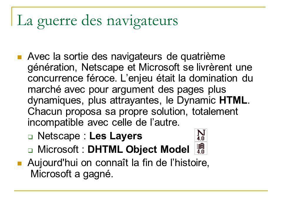 La guerre des navigateurs Avec la sortie des navigateurs de quatrième génération, Netscape et Microsoft se livrèrent une concurrence féroce. L'enjeu é