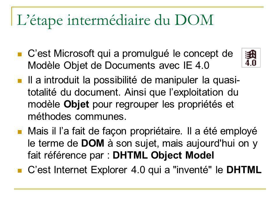 L'étape intermédiaire du DOM C'est Microsoft qui a promulgué le concept de Modèle Objet de Documents avec IE 4.0 Il a introduit la possibilité de mani