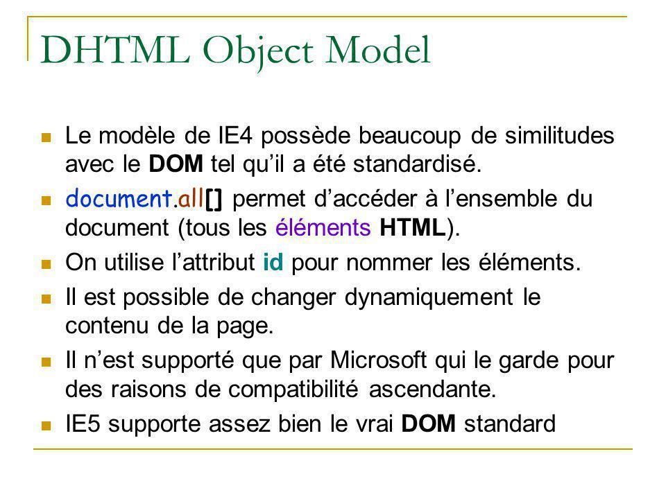 DHTML Object Model Le modèle de IE4 possède beaucoup de similitudes avec le DOM tel qu'il a été standardisé. document.all[] permet d'accéder à l'ensem