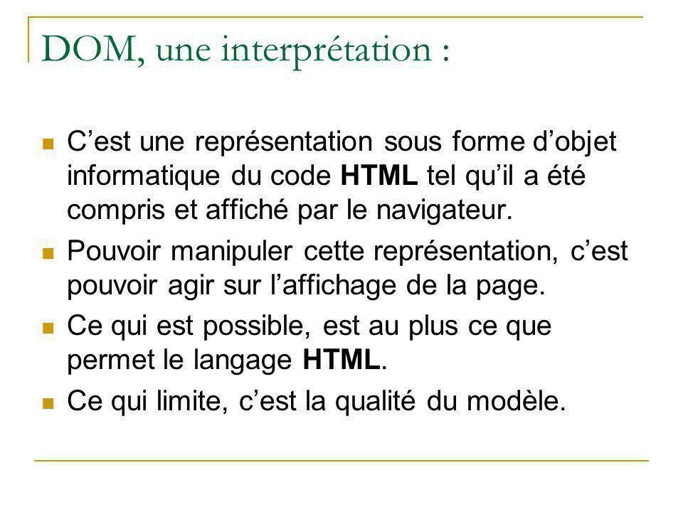 DOM, une interprétation : C'est une représentation sous forme d'objet informatique du code HTML tel qu'il a été compris et affiché par le navigateur.