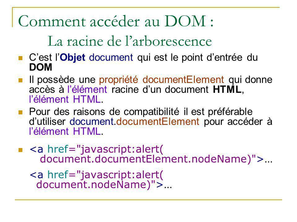 Comment accéder au DOM : La racine de l'arborescence C'est l'Objet document qui est le point d'entrée du DOM Il possède une propriété documentElement