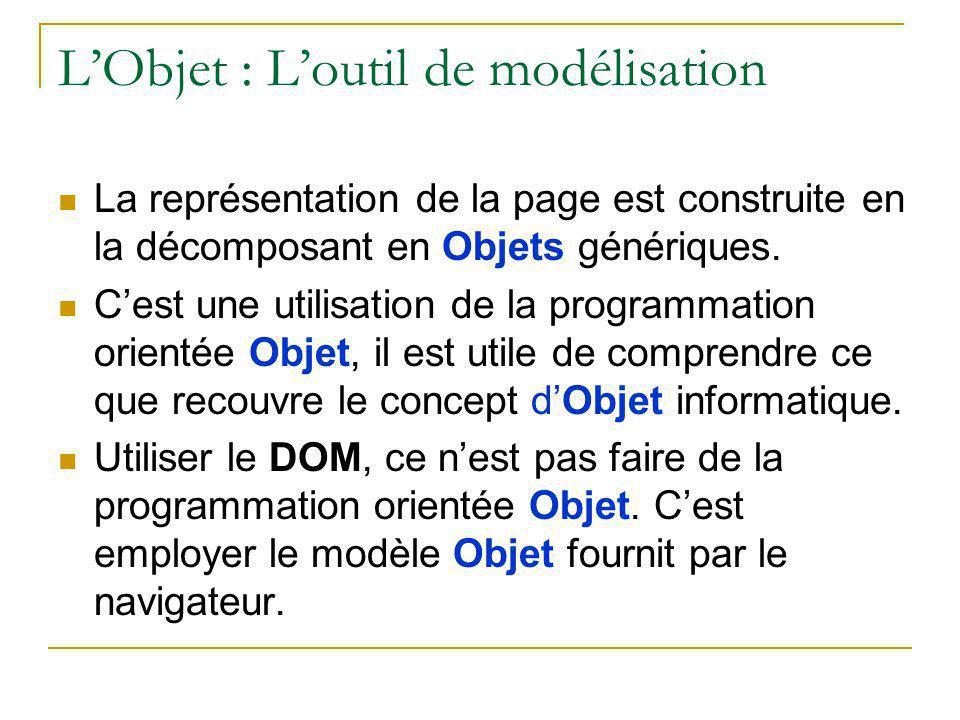 L'Objet : L'outil de modélisation La représentation de la page est construite en la décomposant en Objets génériques. C'est une utilisation de la prog