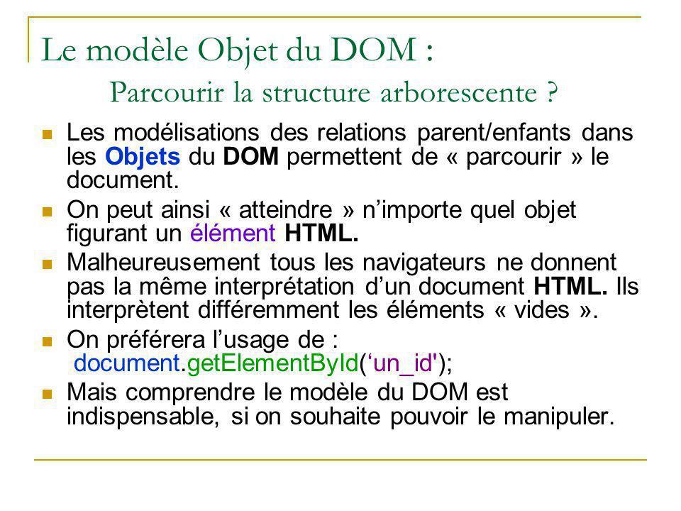 Le modèle Objet du DOM : Parcourir la structure arborescente ? Les modélisations des relations parent/enfants dans les Objets du DOM permettent de « p