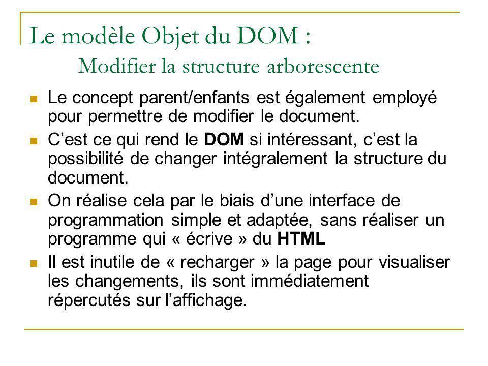 Le modèle Objet du DOM : Modifier la structure arborescente Le concept parent/enfants est également employé pour permettre de modifier le document. C'