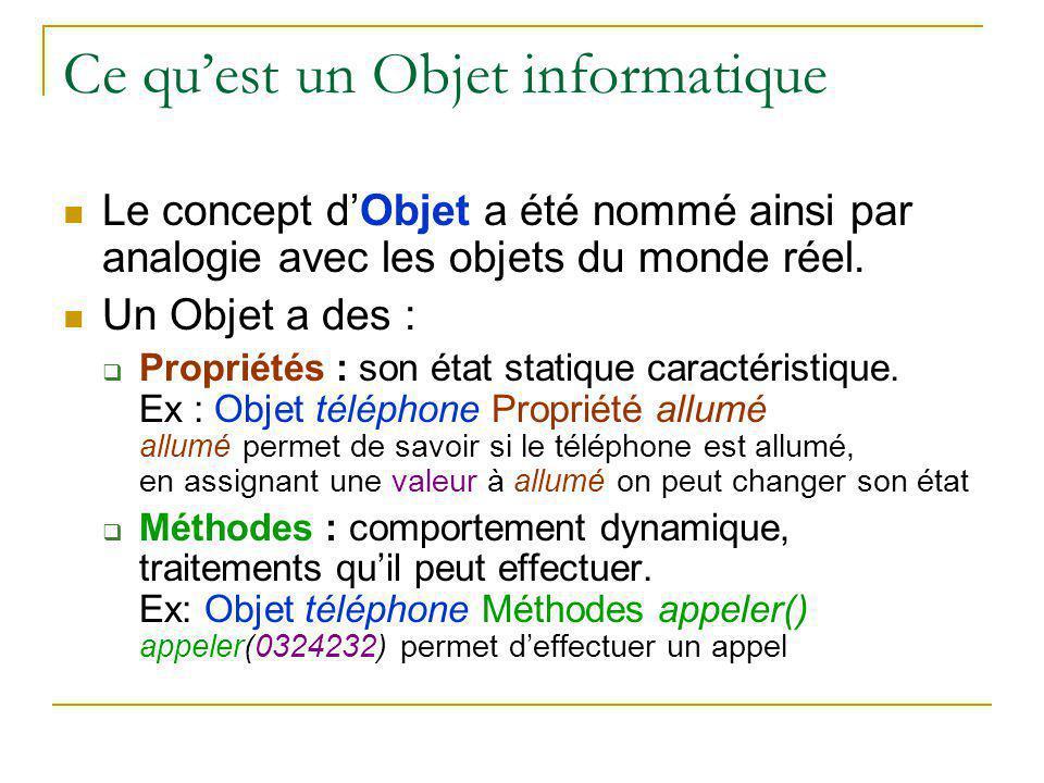 Ce qu'est un Objet informatique Le concept d'Objet a été nommé ainsi par analogie avec les objets du monde réel. Un Objet a des :  Propriétés : son é