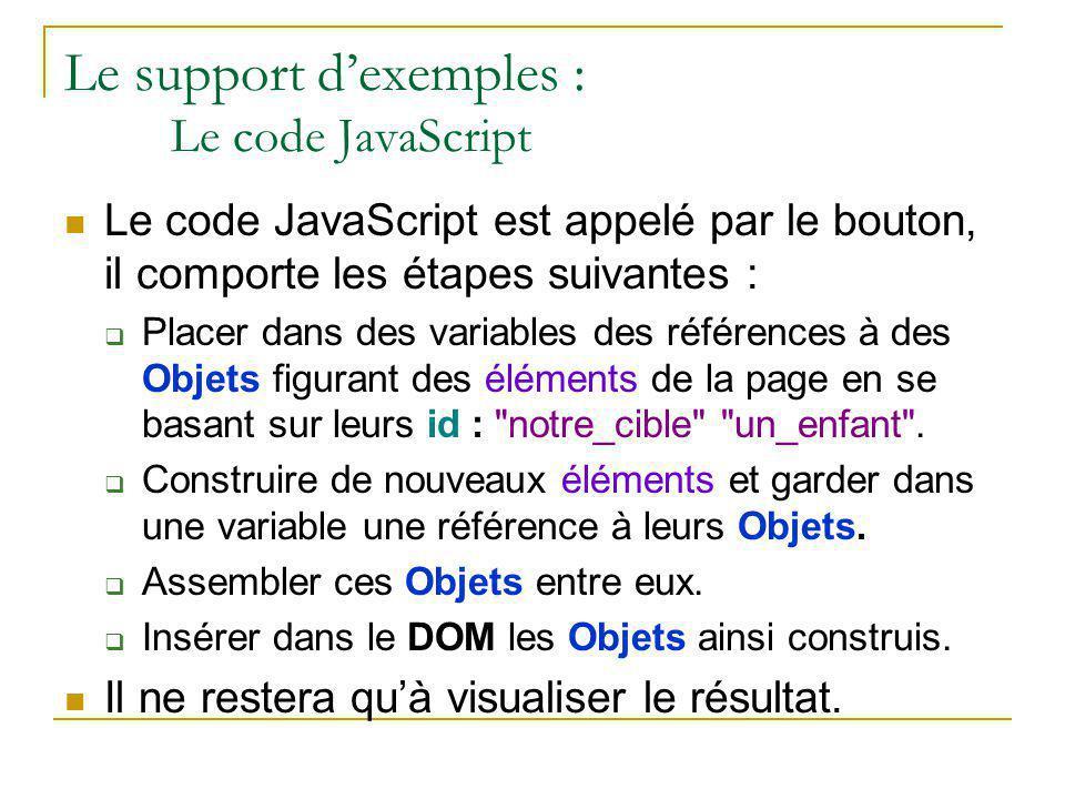 Le support d'exemples : Le code JavaScript Le code JavaScript est appelé par le bouton, il comporte les étapes suivantes :  Placer dans des variables