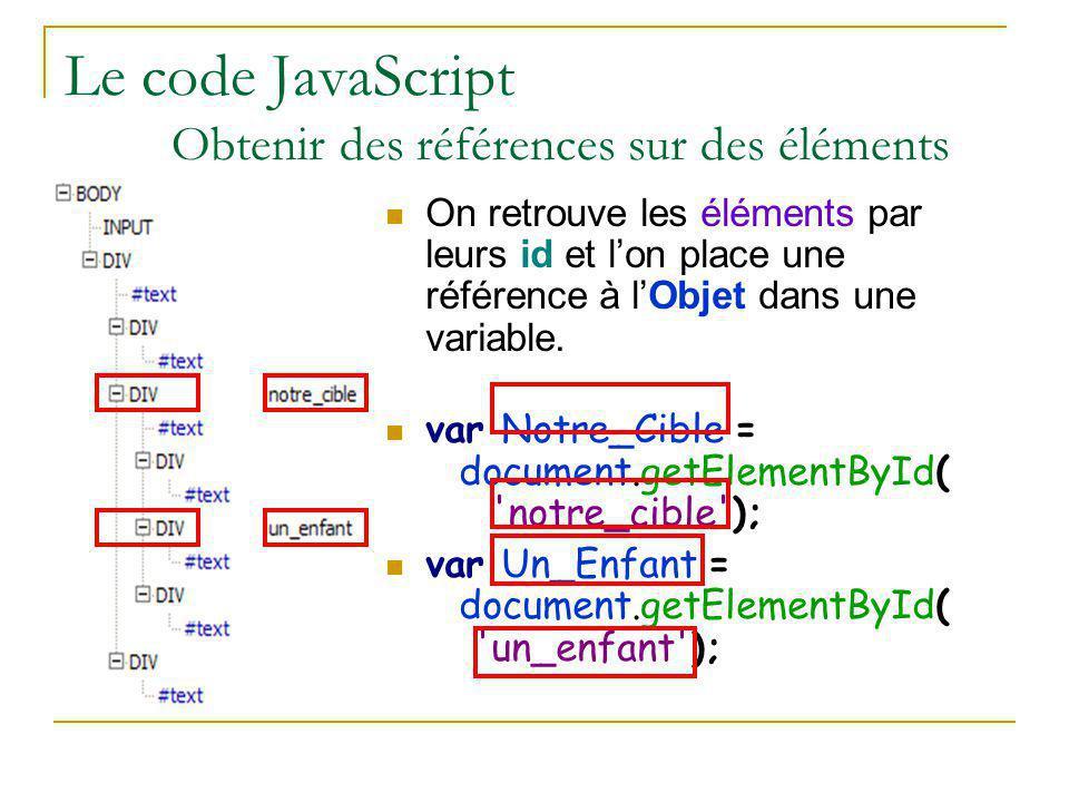 Le code JavaScript Obtenir des références sur des éléments On retrouve les éléments par leurs id et l'on place une référence à l'Objet dans une variab
