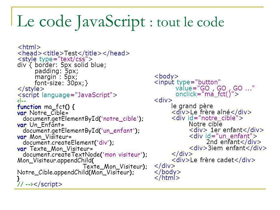 Le code JavaScript : tout le code Test div { border: 5px solid blue; padding: 5px; margin : 5px; font-size: 30px;} le grand père Le frère aîné Notre c