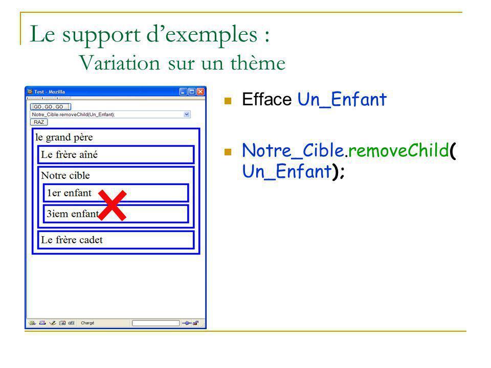 Le support d'exemples : Variation sur un thème Efface Un_Enfant Notre_Cible.removeChild( Un_Enfant);