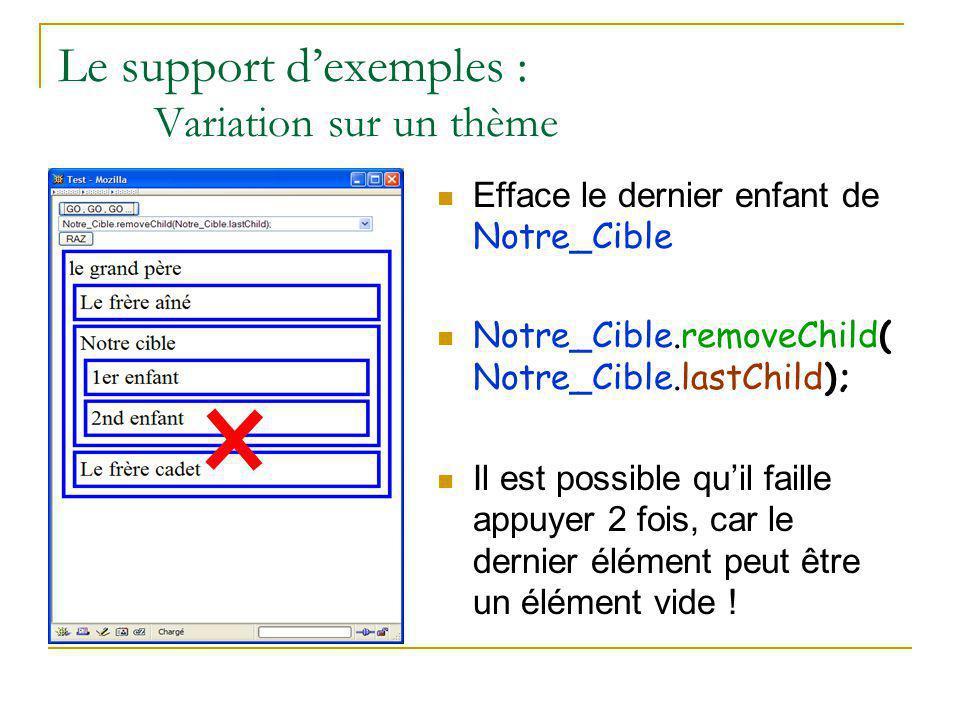 Le support d'exemples : Variation sur un thème Efface le dernier enfant de Notre_Cible Notre_Cible.removeChild( Notre_Cible.lastChild); Il est possibl
