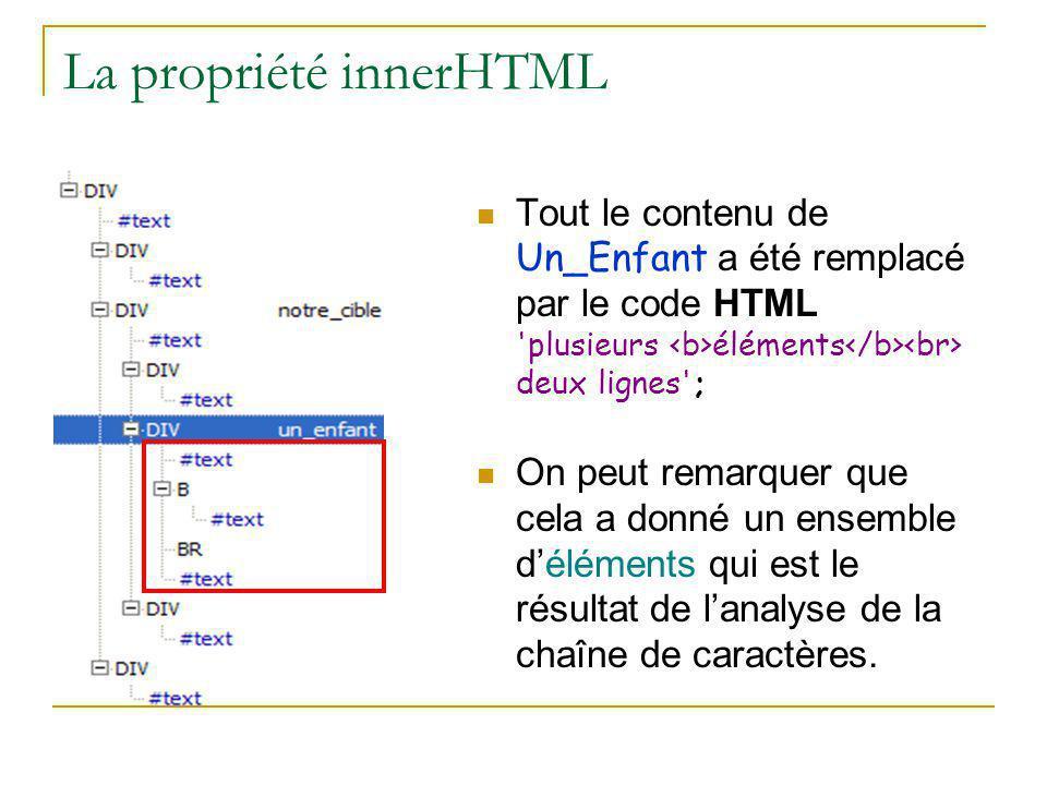 La propriété innerHTML Tout le contenu de Un_Enfant a été remplacé par le code HTML 'plusieurs éléments deux lignes'; On peut remarquer que cela a don