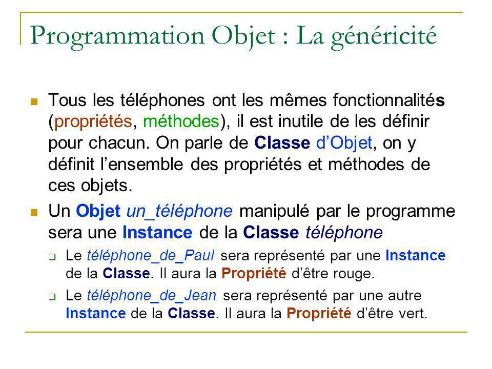 Programmation Objet : La généricité Tous les téléphones ont les mêmes fonctionnalités (propriétés, méthodes), il est inutile de les définir pour chacu