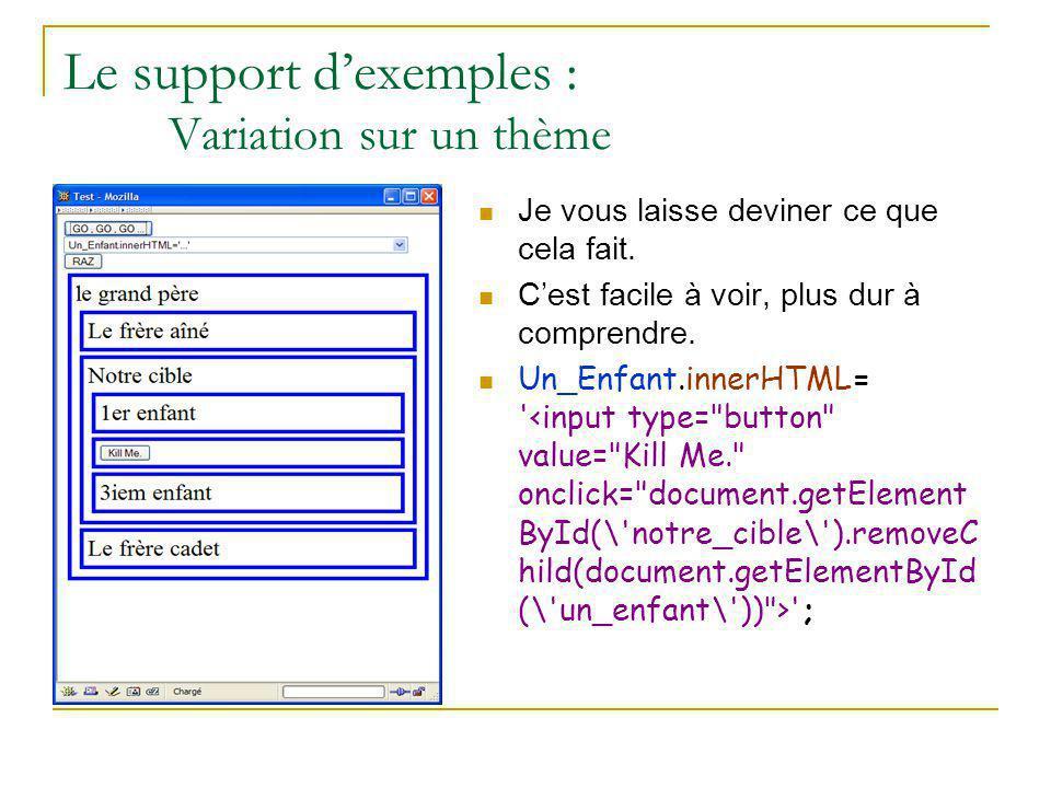 Le support d'exemples : Variation sur un thème Je vous laisse deviner ce que cela fait. C'est facile à voir, plus dur à comprendre. Un_Enfant.innerHTM