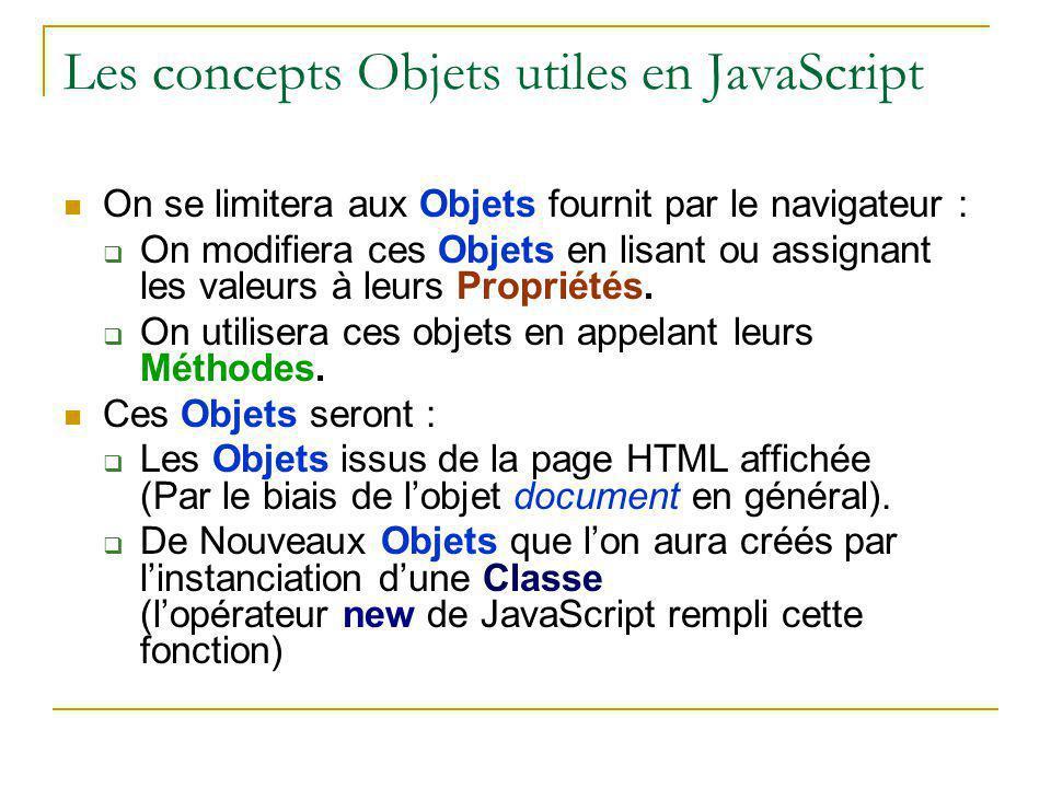 Les concepts Objets utiles en JavaScript On se limitera aux Objets fournit par le navigateur :  On modifiera ces Objets en lisant ou assignant les va
