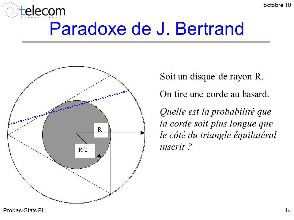 Probas-Stats FI1 octobre 10 14 Soit un disque de rayon R. On tire une corde au hasard. Quelle est la probabilité que la corde soit plus longue que le