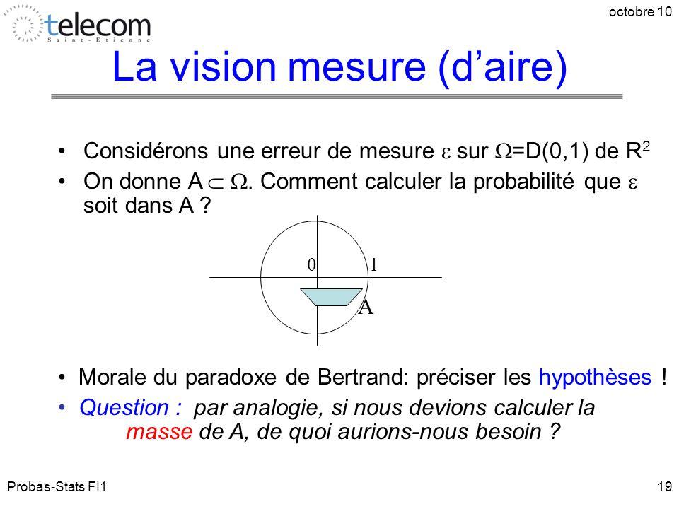 Probas-Stats FI1 octobre 10 19 Considérons une erreur de mesure  sur  =D(0,1) de R 2 On donne A  . Comment calculer la probabilité que  soit dans