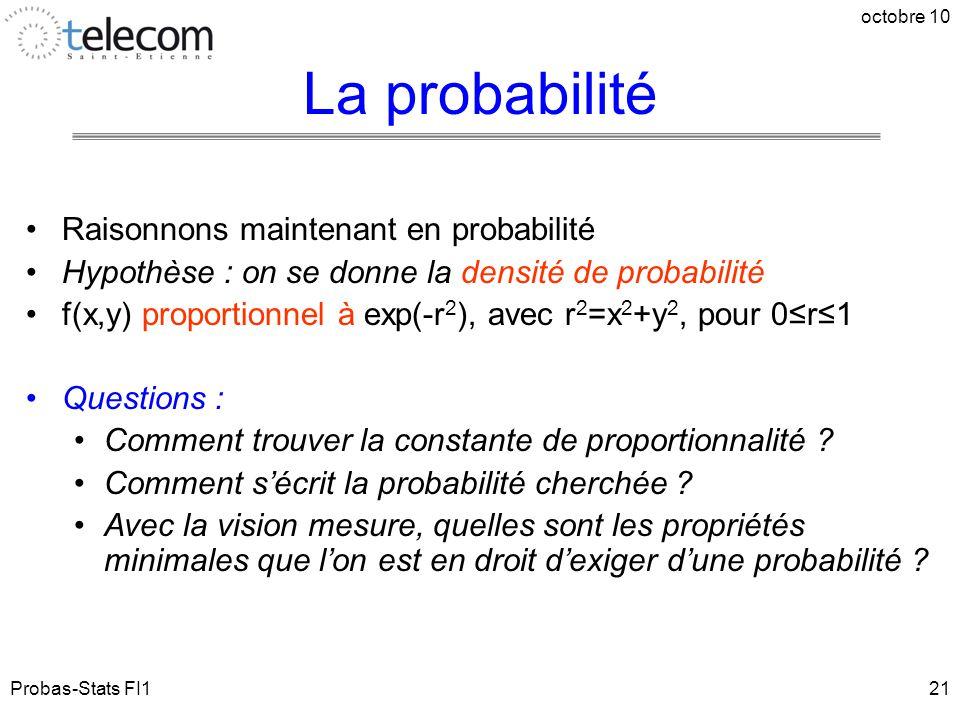 Probas-Stats FI1 octobre 10 21 Raisonnons maintenant en probabilité Hypothèse : on se donne la densité de probabilité f(x,y) proportionnel à exp(-r 2