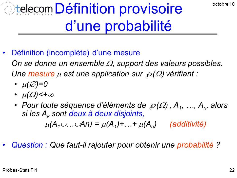 Probas-Stats FI1 octobre 10 22 Définition (incomplète) d'une mesure On se donne un ensemble , support des valeurs possibles. Une mesure  est une app