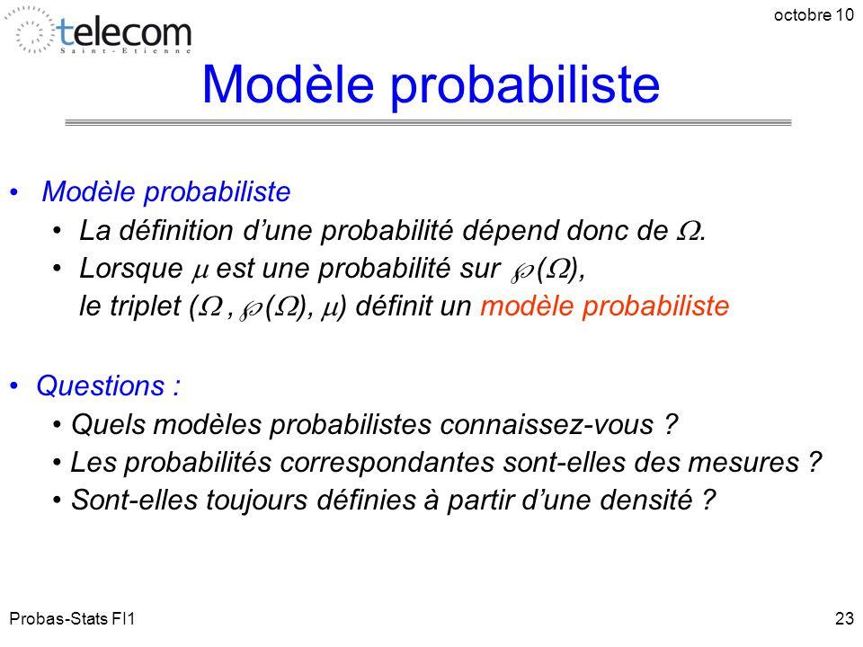 Probas-Stats FI1 octobre 10 23 Modèle probabiliste La définition d'une probabilité dépend donc de . Lorsque  est une probabilité sur  (  ), le tri