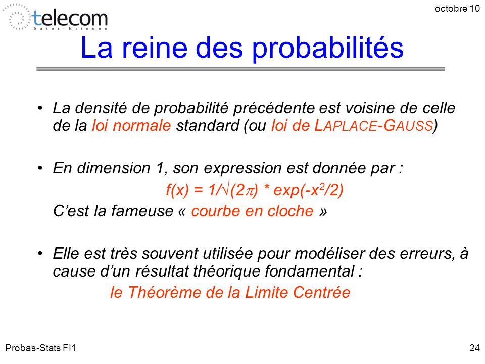 Probas-Stats FI1 octobre 10 24 La densité de probabilité précédente est voisine de celle de la loi normale standard (ou loi de L APLACE -G AUSS ) En d