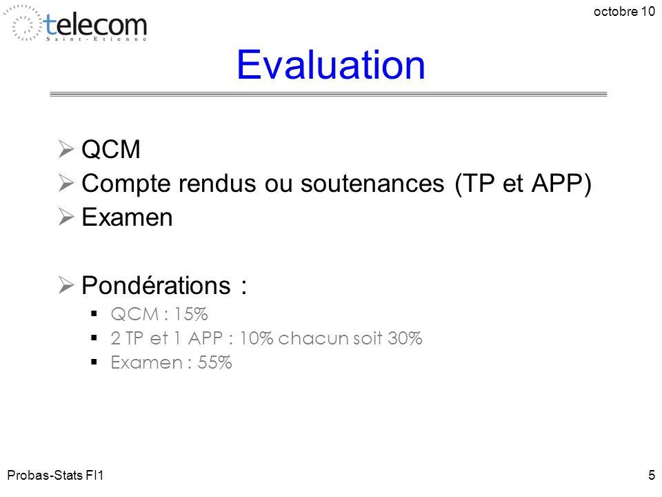 Probas-Stats FI1 octobre 10 5 Evaluation  QCM  Compte rendus ou soutenances (TP et APP)  Examen  Pondérations :  QCM : 15%  2 TP et 1 APP : 10%