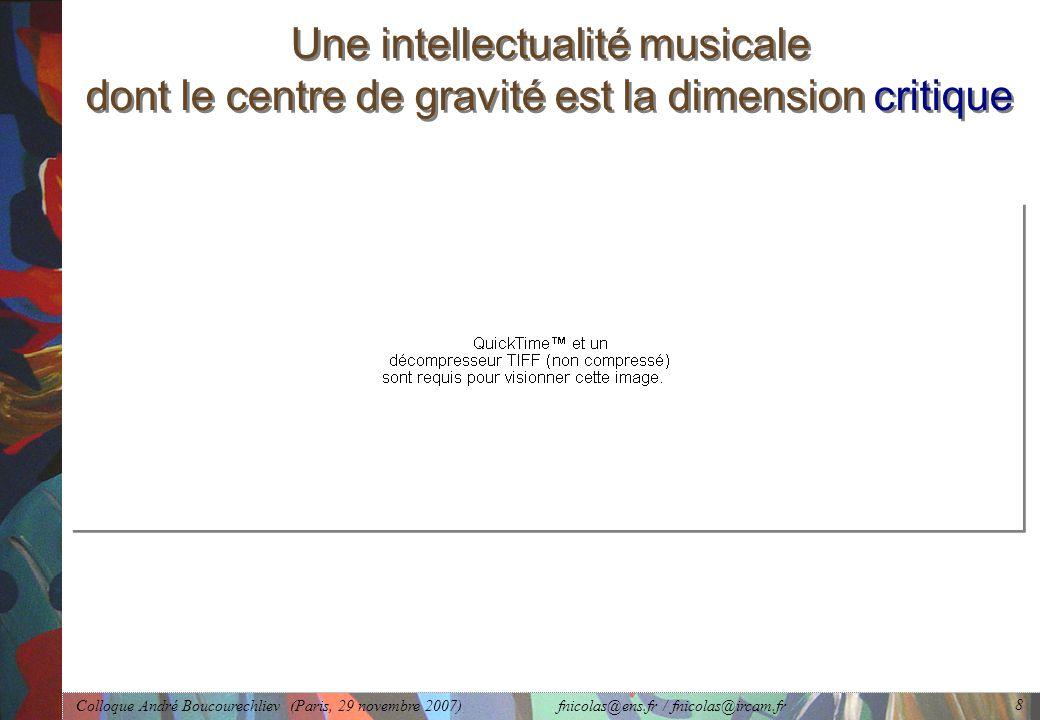 Colloque André Boucourechliev (Paris, 29 novembre 2007) fnicolas@ens.fr / fnicolas@ircam.fr 8 Une intellectualité musicale dont le centre de gravité est la dimension critique
